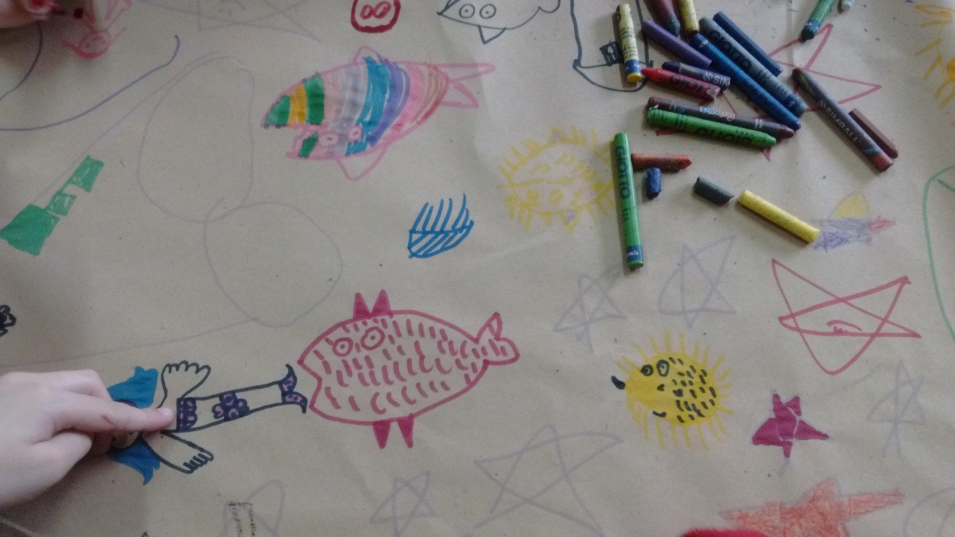 1er grado - Dibujan un río de peces