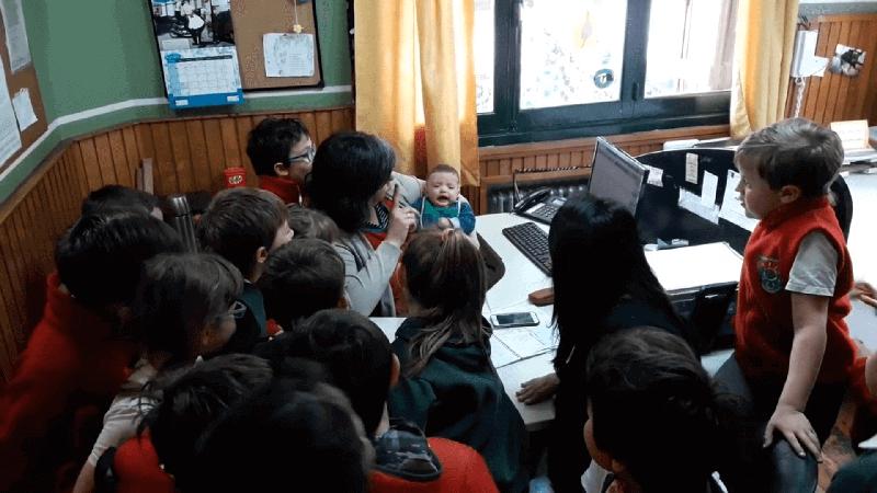 Visita de la seño Meli y León_3do_grado_2018