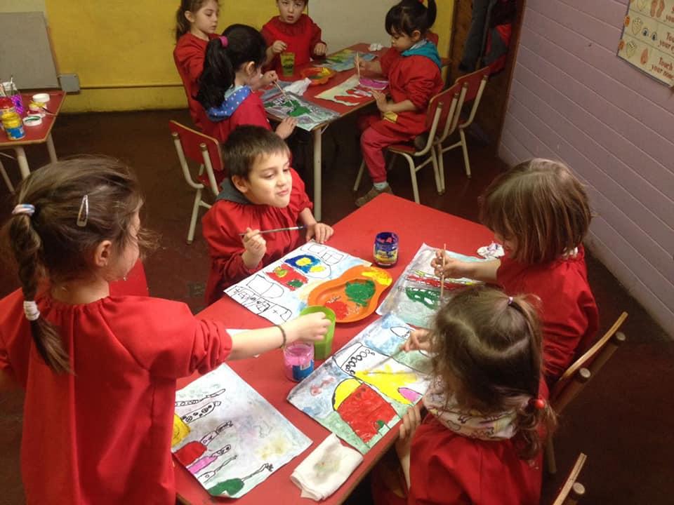 Colegio del Sol, inicial, arte